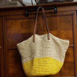 Old Navy Two-Toned Straw Bag With Brown Handle